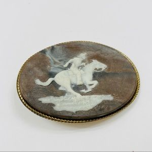 Vintage Belt Buckle Cowboy Rodeo Incolay Stone